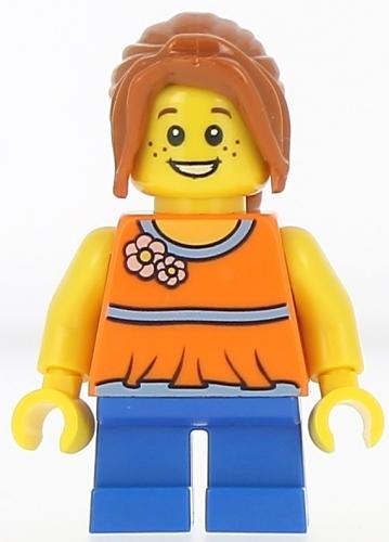 Twn238 Lego Minifigure Girl Blue Short Legs Dark Orange