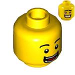 Lego New White Minifigure Head Dual Sided Green Eyebrows Medium Blue Eyeshadow